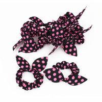 Women Dots Printing Rabbit Ear Stretch Band Ponytail Holder Black Pink 10 Pcs