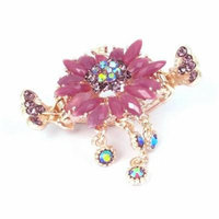 Light Purple Faux Crystal Inlaid Flower Copper Tone Crab Hair Claw Clip Hairclip