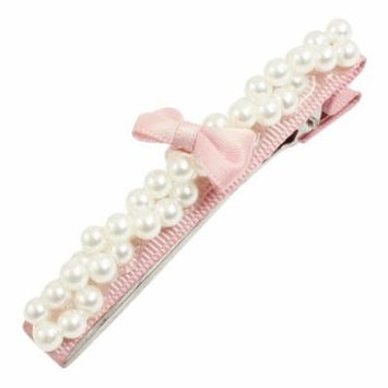 Women Pearl Pink Bowknot Hairstyle Ornament Metal Alligator Hair Clip