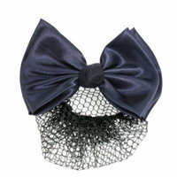Lady Woman Bowknot Accent Blue French Clip Barrette w Hair Net