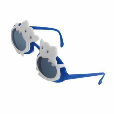 Children Plastic Arms Koala Accent Full Rim Dark Lens White Blue Sunglasses