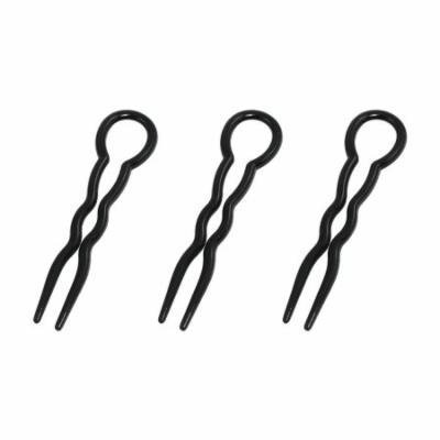Hairstylist Black Plastic Hooked Hairstyle Hair Clip 3 Pcs
