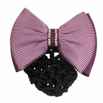 Ladies Stripe Bowknot Decor Snood Net Barrette Hair Clip Bun Cover