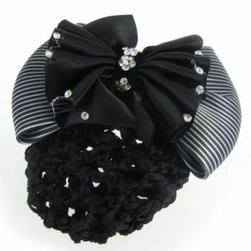 Women French Clip White Black Striped Bowknot Detail Hairclip Hairnet