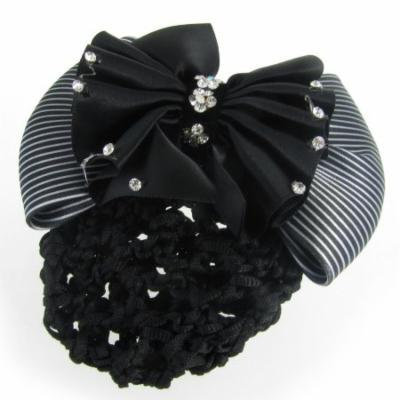 Women French Clip White Black Striped Bowknot Detail Hairclip Hairnet