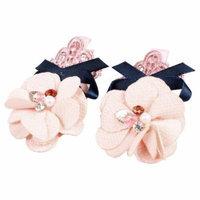 Pair Girl Flower Decor Light Pink Silver Tone Alligator Hair Clip Clamp