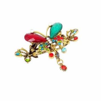 Red Green Rhinestone Inlaid Butterfly Metal Hair Clip Jaw Headwear Claw Clamp