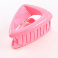Dots Pattern Triangle Design Plastic Hair Claw Barrette Pink for Women