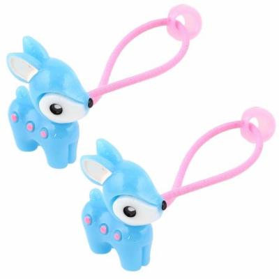 Girl Fawn Bead Decor Elastic Hair Ties Rubber Bands Ponytail Holder Blue Pink Pair