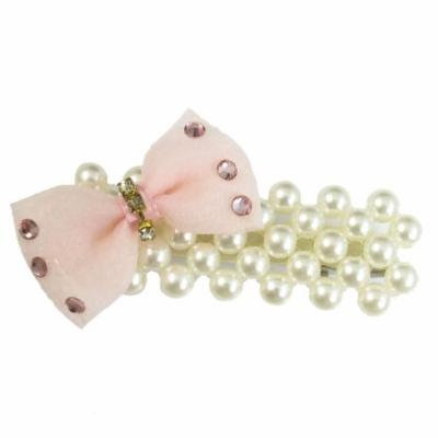 Light Pink Bowknot Decor Fuax Pearl Metal Hair Alligator Clips for Women