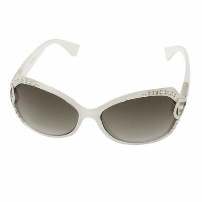 Women Rhinestone Decor Oversized Eyewear Shades Sunglasses White
