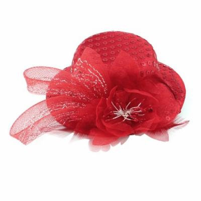 Lady Cocktail Flower Sequins Detail Mini Top Hat Alligator Hair Clip Red