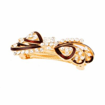 Lady Rhinestone Decor Bowknot Design Metal Hair Clip Barrette Gold Tone Brown