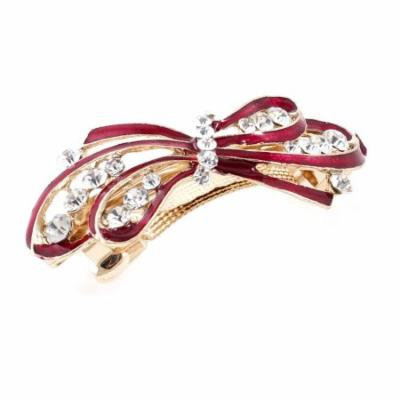Woman New Gold Tone Matel Bowknot Designed Rhinestone French Hair Clip Red