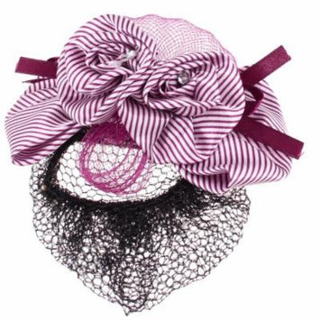 Ladies Hair Ornament Black Snood Net Bun Cover Wine Red White Hair Clip