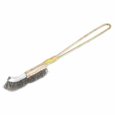 23cm Long Metal Handle Bent Head Steel Wire Cleaning Brush Silver Tone
