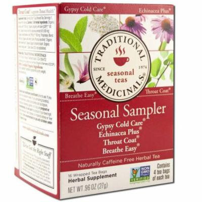 Traditional Medicinals Cold Season Sampler, Organic, 16 Count (Pack of 2)