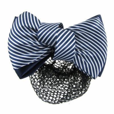 Woman White Blue 2 Tiers Striped Bow Decor Hair Clip w Hairnet Snood