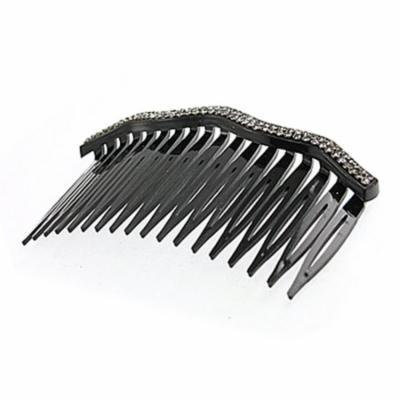 Double Row Rhinestone Decor Black Comb Hair Clip for Women