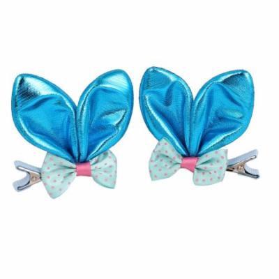 Nylon Girl Sparkly Rabbit Ear Bowknot Ornament Hair Clip Blue 2 Pcs