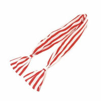 Red White Strip Print Chiffon Wrapped Metal Wire Headband Hair Band for Women