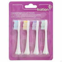 Replacement Brush Heads for: Ivation Rechargeable Electric Toothbrushes w/Sonic Wave Technology - 4-Pack, Color Coded