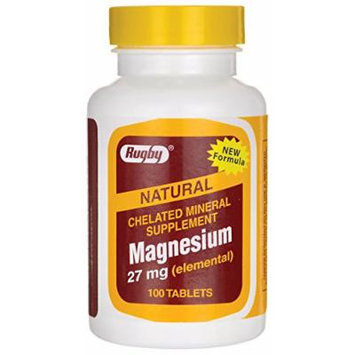 (3 PACK) RUGBY CHELATED MAGNESIUM 27MG (ELEMENTAL) TABLETS 100 CT.