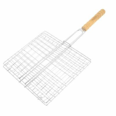 Wooden Handle BBQ Cooking Fillet Fish Grill Basket Barbecue Tool 23cm x 21cm