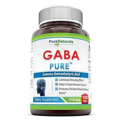 Pure Naturals Gamma Aminobutyric Acid (GABA)- 750 mg, 100 Vegetarian Capsules- Calming & Relaxing Effect*- Helps to Ease Nervous Tension*- Promotes Positive Mood & Reduces Stress*