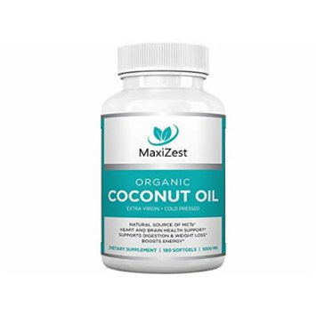 Extra Virgin Organic Coconut Oil Capsules 1000mg - Enhances Skin Hair & Nails - Supports Heart & Brain Health, Digestion & Healthy Weight Loss - Boosts Energy - Natural Source of MCTs - 180 Softgels
