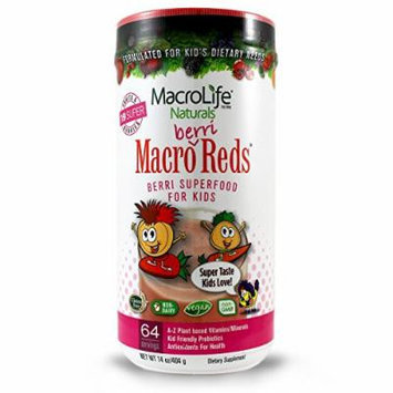 Macro Berri Reds - 19 Organic All Natural Superfruits And Berries - Macro Reds For Kids - Anti Aging Nutrient Rich Superfood - Multi Vitamin Drink That Kids Love (14 Ounces - 64 Servings)