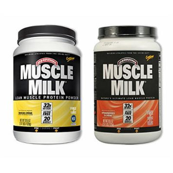 MuscleMilk Banana Crème 2.47 Pound/Strawberry & Cream 2.47 LBS (1 of each)