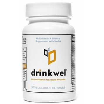 Drinkwel for Hangovers, Nutrient Replenishment & Liver Support (30 Vegetarian Capsules with Organic Milk Thistle, N-acetyl Cysteine, Alpha Lipoic Acid, and DHM) (Travel Size Bottle)