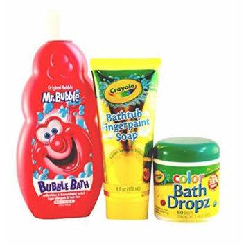 Splash Time 3 Piece Bath Set Featuring: Mr Bubble Original Bubble Bath, Crayola Bath Tub Paint, & Crayola Bath Tub Color Dropz