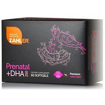 Prenatal Vitamin + DHA 250mg - Premium Twice Daily 60 Softgels - ZAHLER (1 Months Supply)
