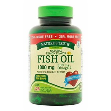 Nature's Truth Fish Oil Omega-3, Natural Lemon Flavor, 125 Count