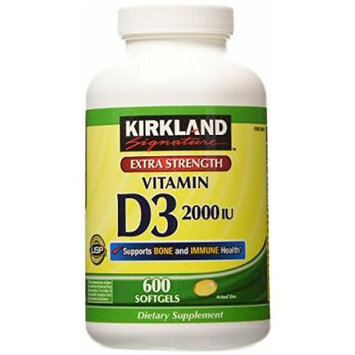 Kirkland Signature Extra Strength Vitamin D3 2000 I.U. 600 Softgels, Bottle (Pack of 2)