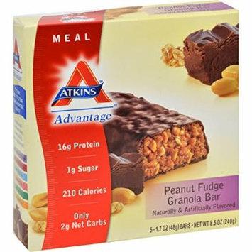 Atkins Advantage Peanut Fudge Granola Meal Bar, 5 Count Bars, 8.5 oz (3-pack)