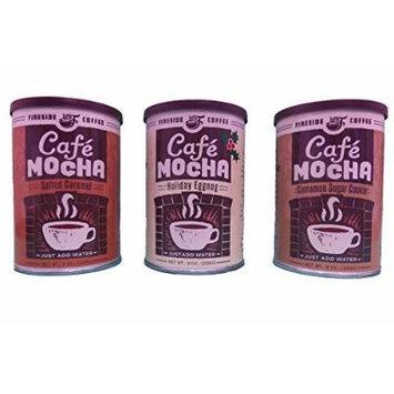 Fireside Coffee Instant Gourmet Coffee Bundle Variety Pack of 3 (Salted Caramel, Holiday Eggnog, & Cinnamon Sugar Cookie))
