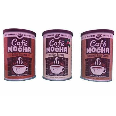 Fireside Coffee Instant Gourmet Coffee Bundle Variety Pack of 3 (Salted Caramel, Holiday Eggnog, & Cinnamon Sugar Cookie))