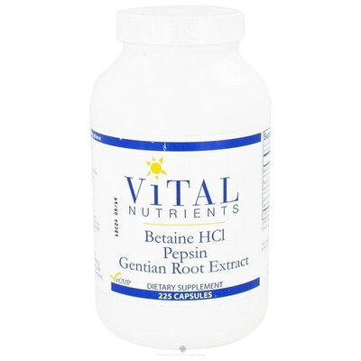 Vital Nutrients, Betaine HCL Pepsin Gentian Root Extract 225 Capsules