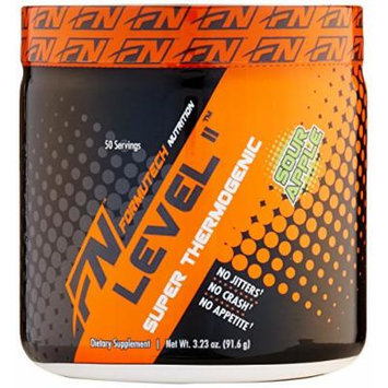 Formutech Nutrition Level II Super Thermogenic, Clean Energy Pre Workout Fat Burner with Appetite Suppression, Sour Apple, 50 Servings