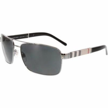 Burberry Men's BE3081-100387-63 Black Rectangle Sunglasses