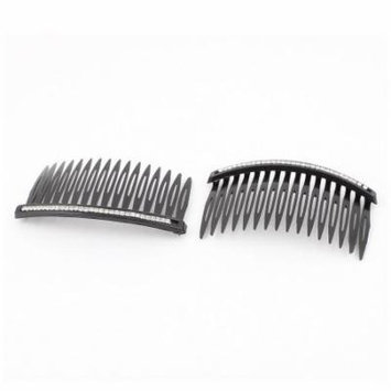 Black Metal Hair DIY Faux Rhinestone Salon Comb Twist Clamp Clip for Women 2 PCS