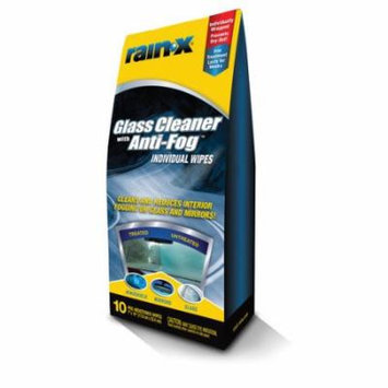 Rain-X Glass Cleaner with Anti-Fog Individual Wipes, 10-Count