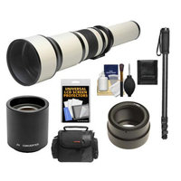 Rokinon 650-1300mm f/8-16 Telephoto Lens & 2x Teleconverter (= 650-2600mm) with Case + Monopod + Accessory Kit for Sony Alpha NEX-C3, NEX-F3, NEX-5, NEX-5N, NEX-7 Digital Cameras