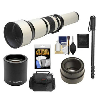 Rokinon 650-1300mm f/8-16 Telephoto Lens & 2x Teleconverter (= 650-2600mm) with Case + Monopod + Accessory Kit for Sony Alpha NEX-C3, NEX-F3, NEX-5, NEX-5N, NEX-7 Digital Cameras