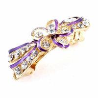 Lady Wedding Party Flower Plastic Rhinestone Barrette French Hair Clip Purple