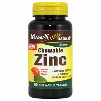 Mason Natural Zinc Chewable Natural Citrus Flavor Tablets, 60 Count