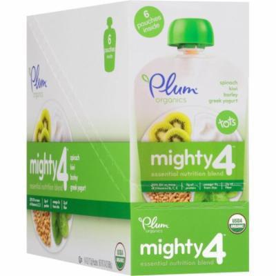 Plum Organics Tots Mighty 4 Spinach, Kiwi, Barley & Greek Yogurt Essential Nutrition Blend, 4 oz, 6 count